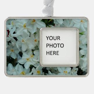 Paperwhite Narzissen-empfindliche weiße Blumen Rahmen-Ornament Silber
