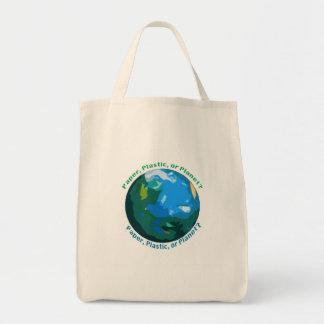 Papier, Plastik oder Planet? Markt-Tasche Einkaufstasche