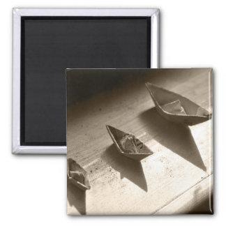Papierboote Quadratischer Magnet