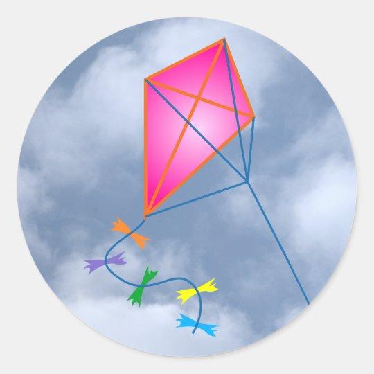 Papierdrache kite runder aufkleber