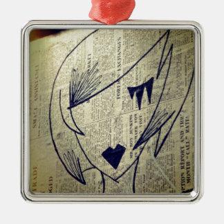 Papiermädchen Quadratisches Silberfarbenes Ornament