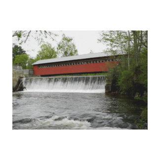 Papiermühle-überdachte Brücke, Vermont Leinwanddruck