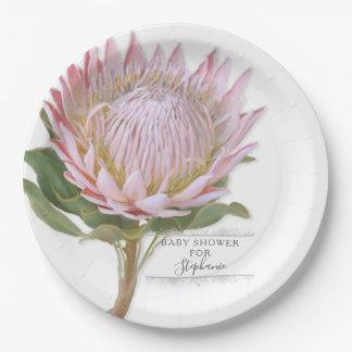 PapierPartymoderne rosa Protea-mit BlumenBlume Pappteller
