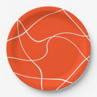"""Papierplatte """"abstrakte Linien"""" - Orange und Weiß Pappteller"""