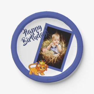 Papierplatte des blauen Geburtstages des Fotos für Pappteller
