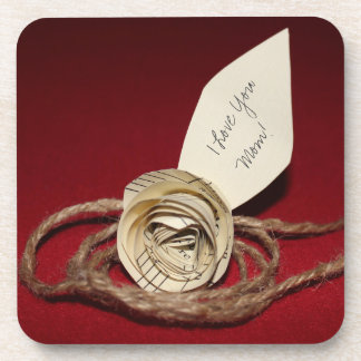 PapierRose auf Rot, i-Liebe Sie Mamma! Getränkeuntersetzer