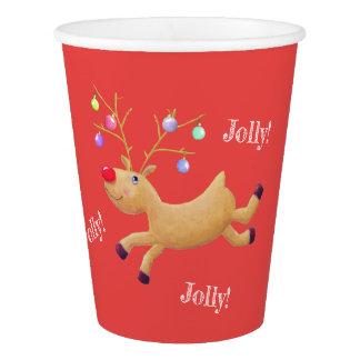 Papierschalen klassischen Feiertags Rudolphs Pappbecher