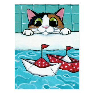 Papiersegel-Boote - Kaliko-Katzen-Kunst-Postkarte
