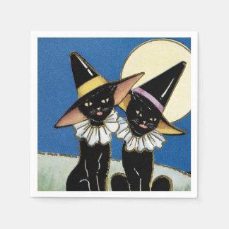 Papierservietten des Vintagen schwarze Katze