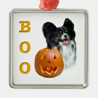 Papillon Halloween BOO Silbernes Ornament