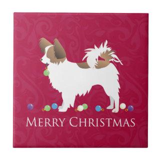 Papillon Hundefrohe Weihnacht-Entwurf Fliese