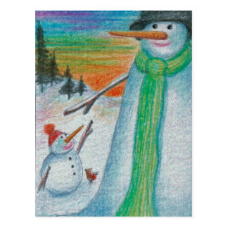 Pappa-Schneemann und sein kleiner bitty Snowboy Postkarte