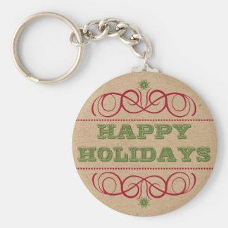 Papphandwerks-Art frohe Feiertage Keychain Schlüsselanhänger