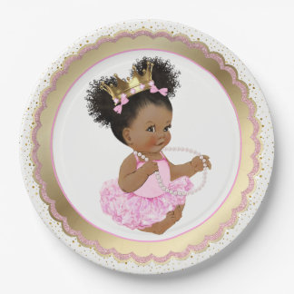 Pappteller Afroamerikaner-Prinzessin-Babyparty