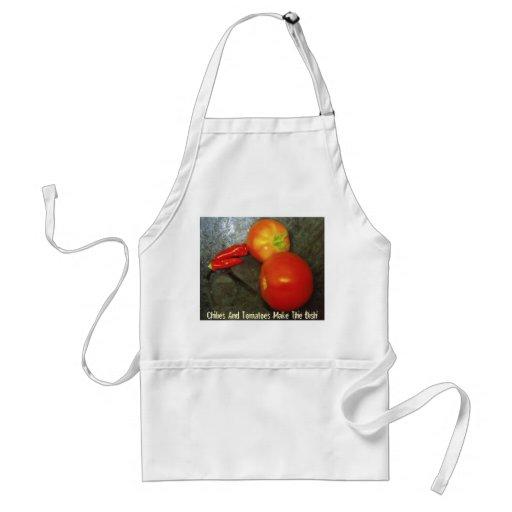 Paprikas und Tomaten machen den Teller Schürzen