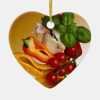 Paprikaschoten-Basilikum-Tomate-Knoblauch Keramik Ornament
