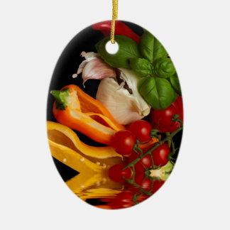 Paprikaschoten-Basilikum-Tomate-Knoblauch Ovales Keramik Ornament