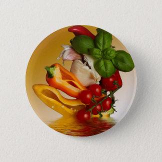 Paprikaschoten-Basilikum-Tomate-Knoblauch Runder Button 5,7 Cm