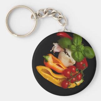 Paprikaschoten-Basilikum-Tomate-Knoblauch Schlüsselanhänger
