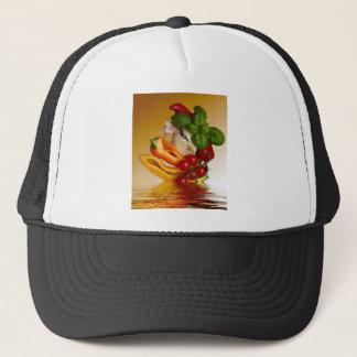 Paprikaschoten-Basilikum-Tomate-Knoblauch Truckerkappe