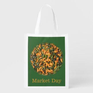 Paprikaschoten - gelb und grün - Bio Markt-Tag Tragetaschen