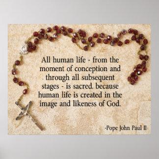 Papst John Paul gegen die Abtreibung Poster