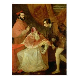Papst Paul III und seine Neffeen, 1545 Postkarte