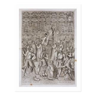 Papst Sixtus V (1521-90) wird zur Zeremonie Postkarte