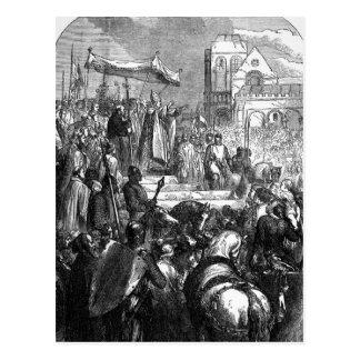 Papst Urban II den ersten Kreuzzug predigend Postkarte