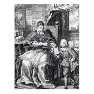 Papst Urban VIII mit seinen Neffeen Postkarte