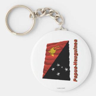 Papua-Neuguinea Fliegende Flagge MIT Namen Standard Runder Schlüsselanhänger