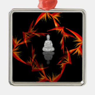 Paradies Buddha Quadratisches Silberfarbenes Ornament