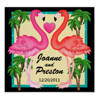 Paradies-Flamingo-Liebe-Plakat Poster