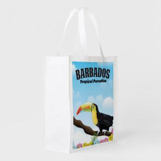 Paradies-Reiseplakat Barbados tropisches Wiederverwendbare Einkaufstasche