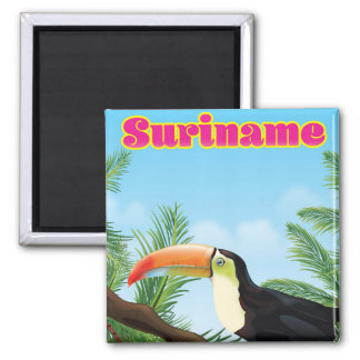 Paradies-Reiseplakat Surinams südamerikanisches Quadratischer Magnet