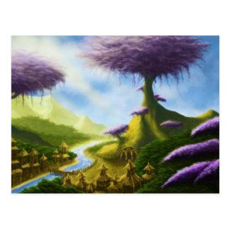 Paradiesphantasie-Landschaftspostkarte Postkarte