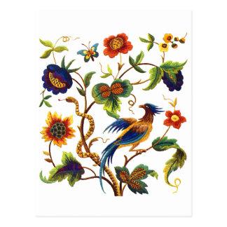 Paradiesvogel Jacobean Stickerei Postkarte