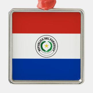 Paraguay-Flagge Quadratisches Silberfarbenes Ornament