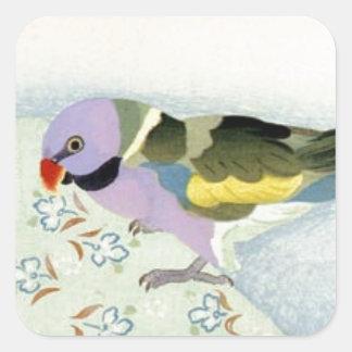 Parakeet auf Tabelle durch Yamamura Toyonari Quadratischer Aufkleber