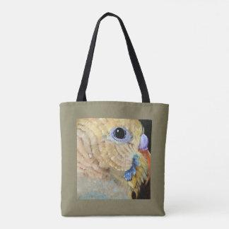 Parakeet-nahe hohe Kunst ganz über Tasche durch
