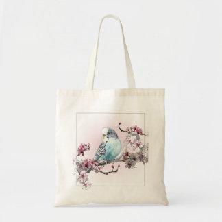 Parakeet-und Kirschblüten - Taschen-Tasche Budget Stoffbeutel