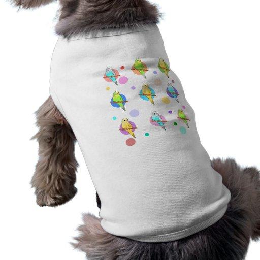 Parakeets u. Tupfen-Muster Hund T-shirt