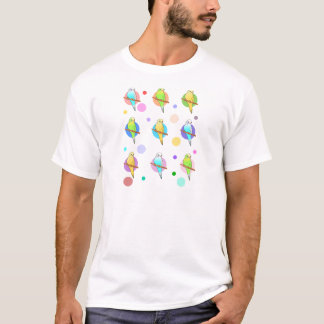 Parakeets u. Tupfen-Muster T-Shirt