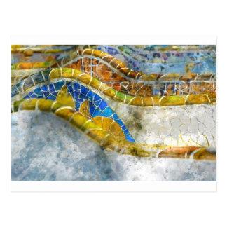 Parc Guell Bank-Mosaiken in Barcelona Spanien Postkarte