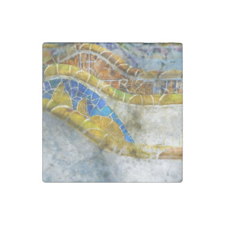 Parc Guell Bank-Mosaiken in Barcelona Spanien Stein-Magnet