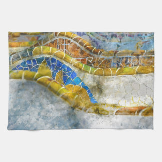 Parc Guell Mosaik-Bänke in Barcelona Spanien Geschirrtuch