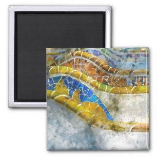 Parc Guell Mosaik-Bänke in Barcelona Spanien Quadratischer Magnet