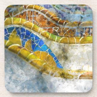 Parc Guell Mosaik-Bänke in Barcelona Spanien Untersetzer