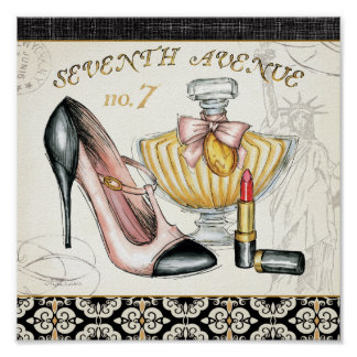 Parfüm, roter Lippenstift und ein Hoch auf den Posterdruck