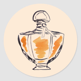 Parfümflaschen-Mode-Wasserfarbeillustration Runder Aufkleber
